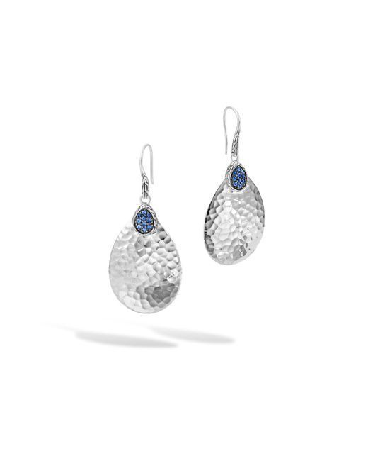 John Hardy | Classic Chain Hammered Small Drop Earring, Blue Sapphire | Lyst