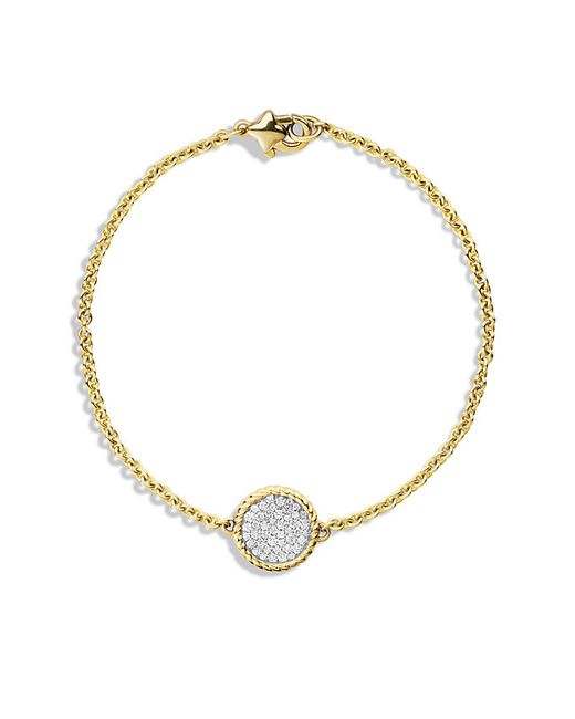 David Yurman | Metallic Cable Collectibles Pavé Charm Bracelet With Diamonds In Gold | Lyst