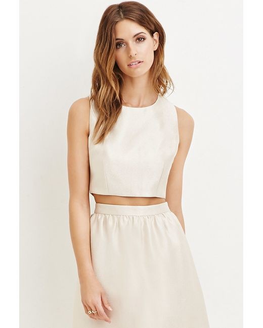 Forever 21 | Metallic Contemporary Sheeny Crop Top | Lyst