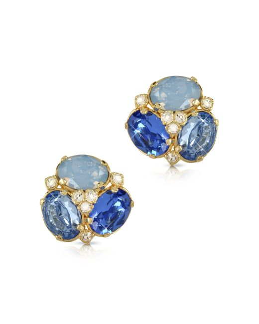 forzieri blue clip on earrings in blue lyst