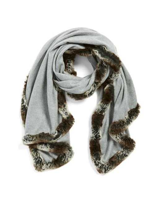 Badgley Mischka | Gray Faux Fur Trim Wrap | Lyst