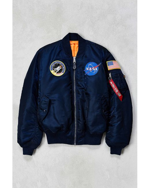 alpha industries nasa ma 1 bomber jacket in blue for men navy lyst. Black Bedroom Furniture Sets. Home Design Ideas