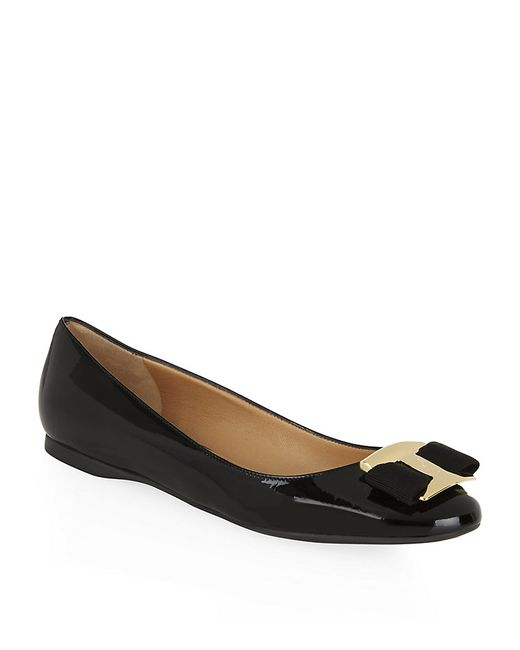Ferragamo | Black Ninna Patent Leather Flat | Lyst
