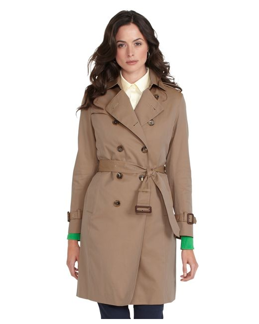 Brooks Brothers   Natural Petite Cotton Trench Coat   Lyst