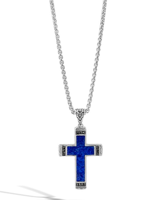 John hardy Men s Classic Chain Lapis Cross Pendant Necklace With Black Sa