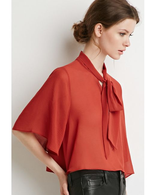 Forever 21 | Brown Contemporary Self-tie Neck Cropped Blouse | Lyst