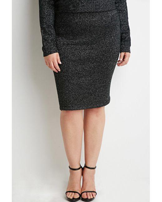 Forever 21   Black Plus Size Metallic Ribbed Knit Skirt   Lyst