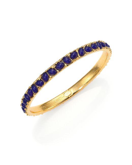 Kenneth Jay Lane | Blue Cabochon Cluster Thin Bangle Bracelet | Lyst