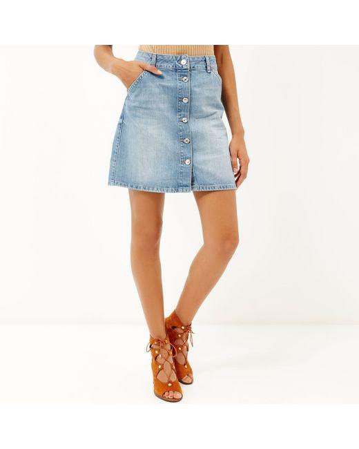 river island mid wash denim buttoned mini skirt in blue
