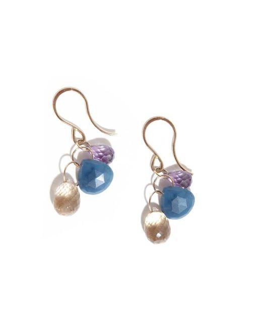 Melissa Joy Manning | Rose Amethyst, Blue Opal And Champagne Quartz Three Drop Earrings | Lyst