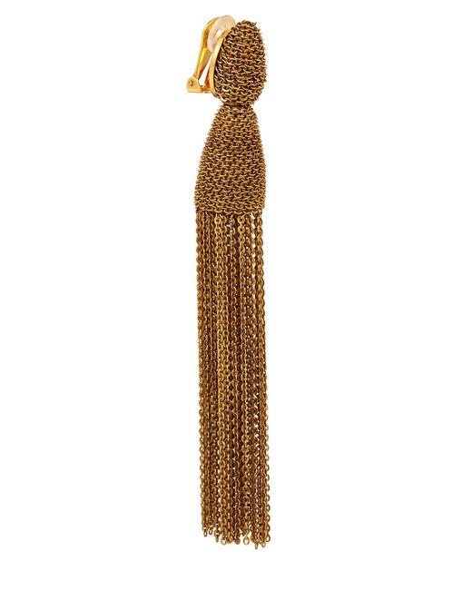 Oscar de la Renta | Metallic Classic Long Chain Tassel Earrings | Lyst