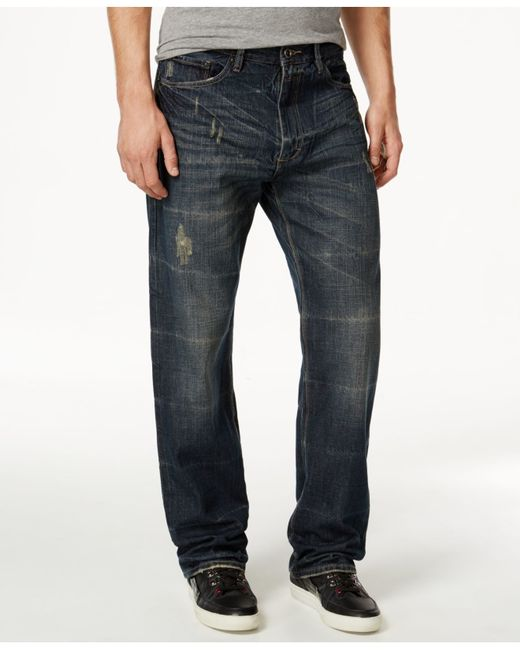 Sean John | Blue Men's Patch-pocket Hamilton Relaxed Fit Destructed Jeans, Deep Tinted Wash for Men | Lyst