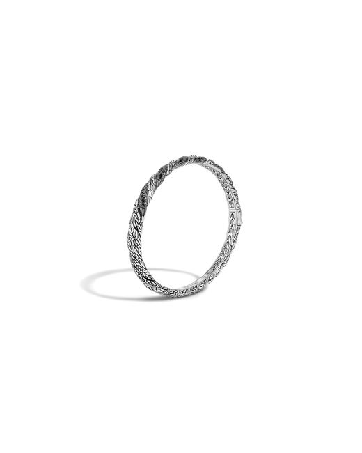 John Hardy | Metallic Classic Chain Sterling Silver Lava Hinged Bangle With Black Sapphire | Lyst