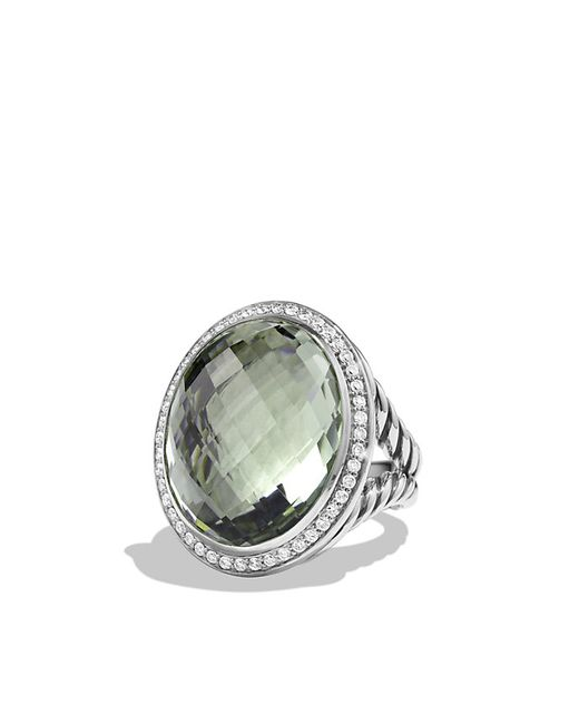 David Yurman | Metallic Oval Ring With Prasiolite And Diamonds | Lyst