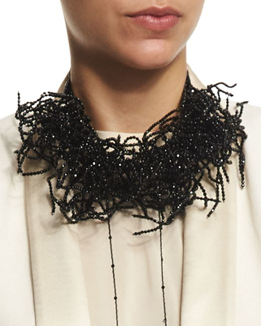 Brunello Cucinelli | Black Beaded Seaweed Choker Necklace for Men | Lyst