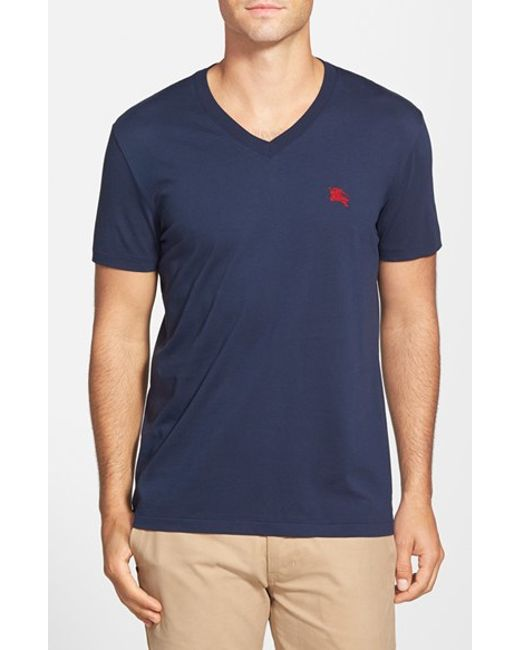 Burberry Brit | Blue Lindon V-Neck Cotton T-Shirt for Men | Lyst