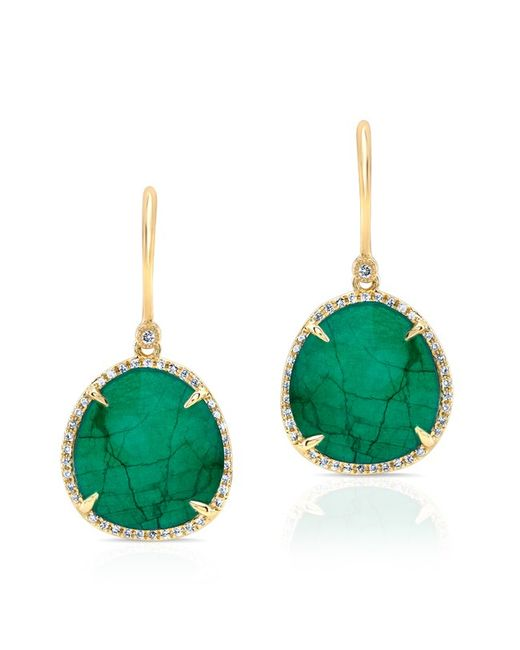 Anne Sisteron | 14kt Yellow Gold Emerald Diamond Luxe Earrings | Lyst