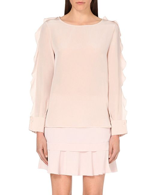 See By Chloé | Pink Frilled-sleeve Silk Blouse | Lyst