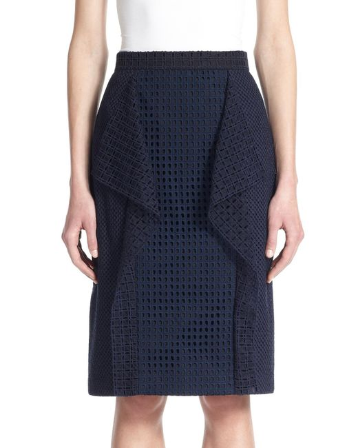 3.1 Phillip Lim | Blue Draped-panel Stretch Cotton Eyelet Skirt | Lyst