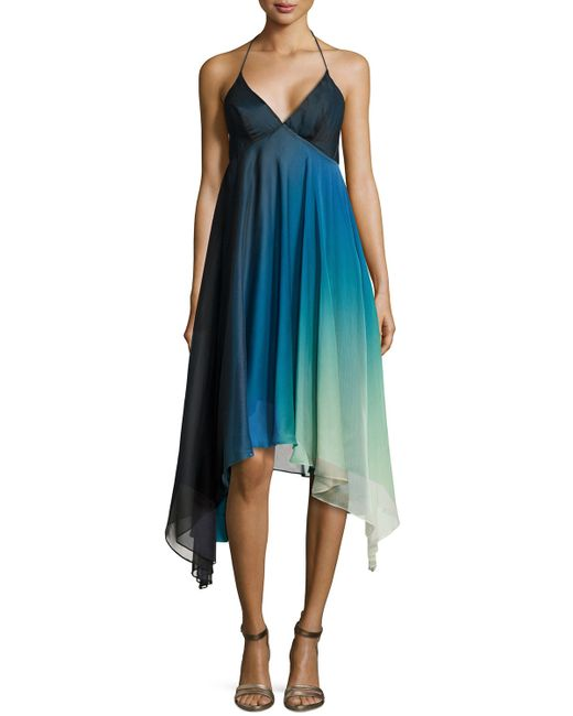 Halston Heritage Ombre High Low Cocktail Halter Dress In