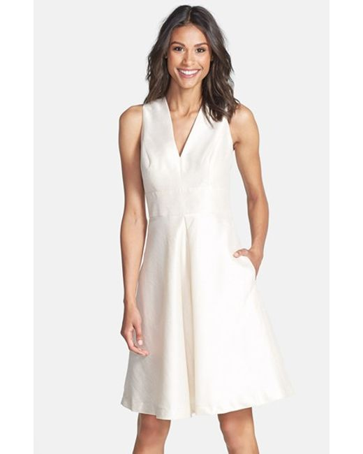 Alfred Sung | White V-neck Dupioni Cocktail Dress | Lyst