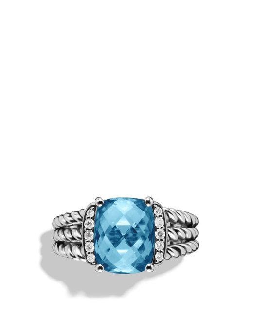 David Yurman | Petite Wheaton Ring With Hampton Blue Topaz And Diamonds | Lyst