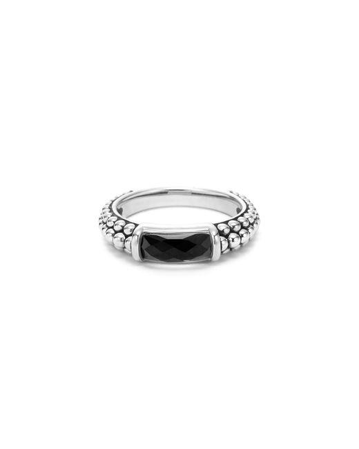 Lagos | Metallic Sterling Silver Maya Onyx Stack Ring | Lyst