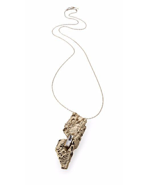 Noritamy | Metallic Baru Gold Pendant Necklace With Crystal | Lyst