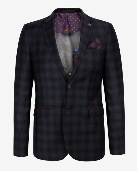Ted Baker | Blue Checked Wool Jacket for Men | Lyst