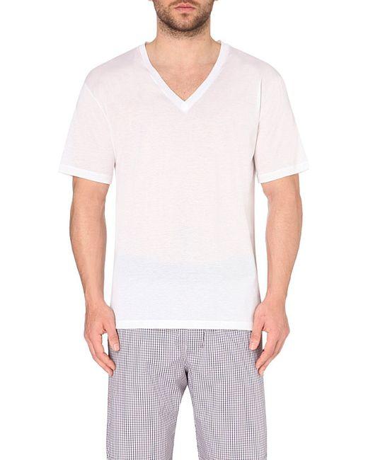 Hanro v neck cotton t shirt in white for men lyst for V neck white t shirts for men