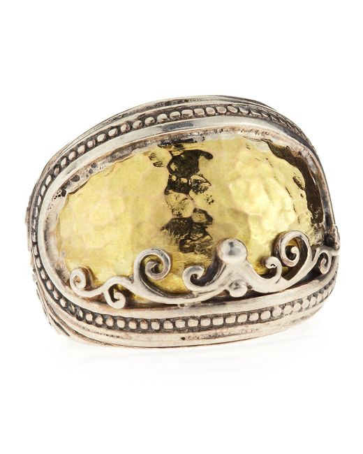 Konstantino | Metallic Sterling Silver Ring with Hammered 18k Gold | Lyst