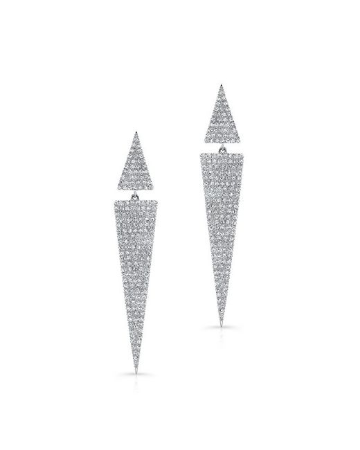 Anne Sisteron | 14k White Gold Diamond Double Triangle Earrings | Lyst