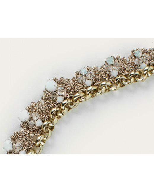 St Erasmus | Metallic Crochet Crystal Flower Necklace | Lyst