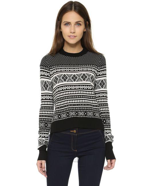 Veronica Beard | Black Mixed-media Pleat Back Sweater | Lyst