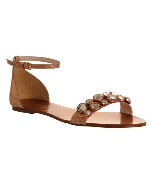 ted baker dahlea sandal in gold pink save 49 lyst. Black Bedroom Furniture Sets. Home Design Ideas