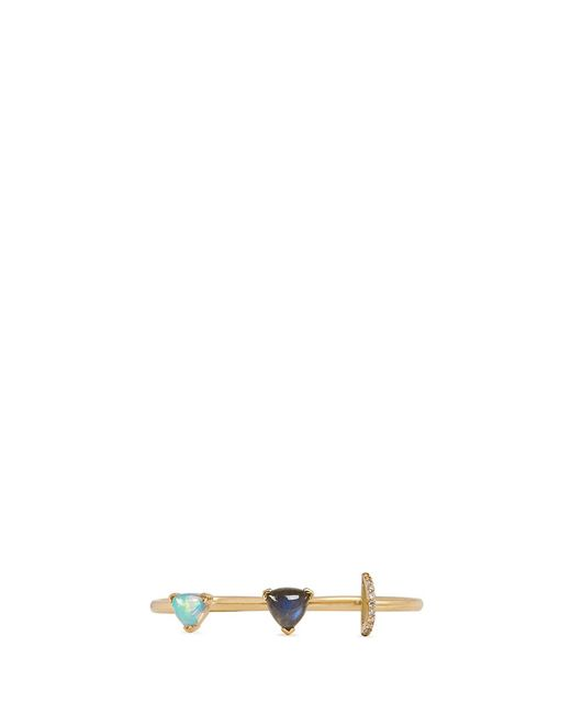 Phyne By Paige Novick | Metallic Marta' 18k Gold Diamond Pav Opal Labradorite Two Finger Ring | Lyst