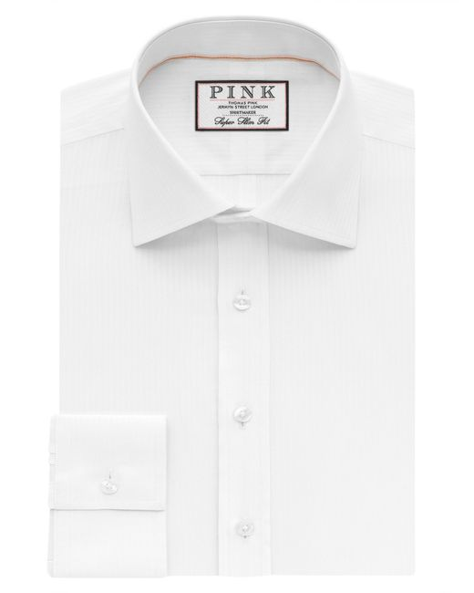 Thomas Pink Alvey Stripe Super Slim Fit Shirt In White For