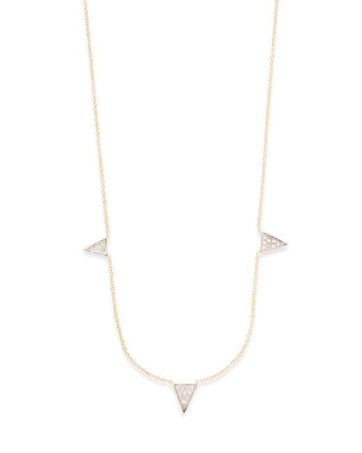 Kacey K   Metallic Diamond & 14k Gold Triangle Necklace   Lyst