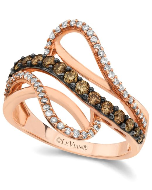 Le Vian | Brown Chocolate By Petite Chocolate And White Diamond Wave Ring (5/8 Ct. T.w.) In 14k Rose Gold | Lyst