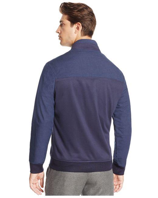 Vince Camuto | Blue Men's Mixed-media Bomber Jacket for Men | Lyst
