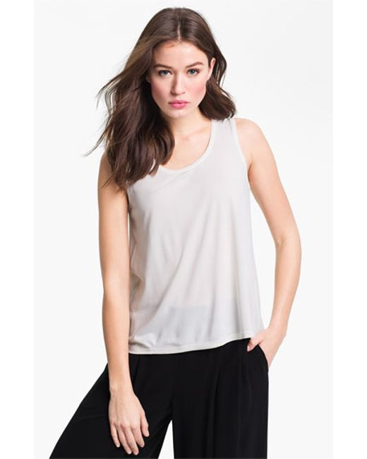 Eileen Fisher | White Scoop Neck Silk Tank | Lyst