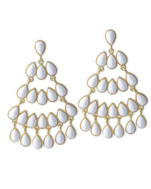 Kenneth Jay Lane | White Chandelier Pierced Earring | Lyst
