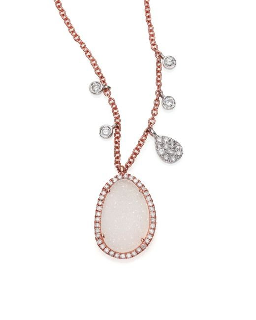 Meira T | Pink Druzy, Mother-of-pearl, Diamond & 14k Rose Gold Pendant Necklace | Lyst