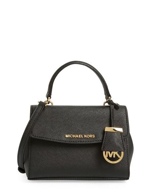 MICHAEL Michael Kors | Black 'extra Small Ava' Leather Crossbody Bag | Lyst