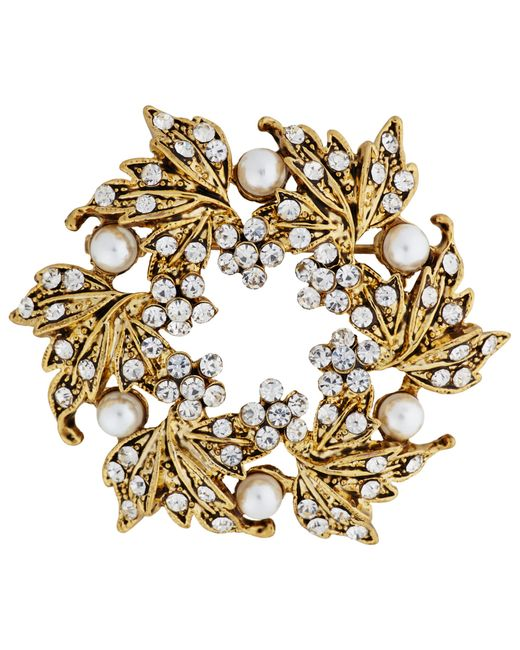 John Lewis | Metallic Vintage Gold Plated Glass Stone Wreath Brooch | Lyst