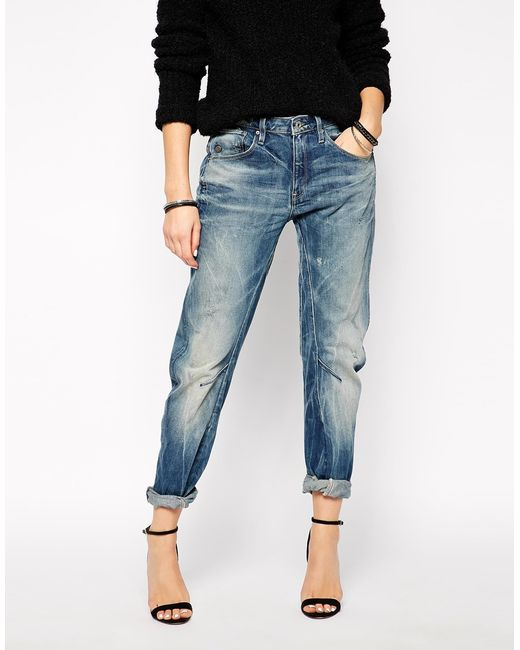 star raw g star arc 3d boyfriend jeans in blue save 7 lyst. Black Bedroom Furniture Sets. Home Design Ideas
