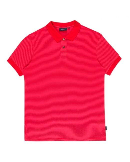 Paul smith men 39 s fuchsia horizontal stripe polo shirt in for Horizontal striped dress shirts men