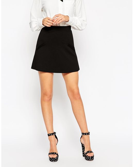 asos a line skirt in ponte with pockets in black lyst