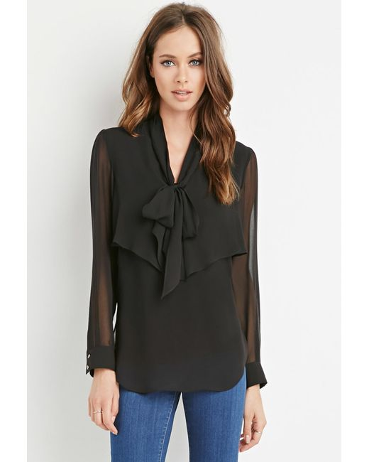 Forever 21 | Black Flounced Self-tie Neckline Blouse | Lyst