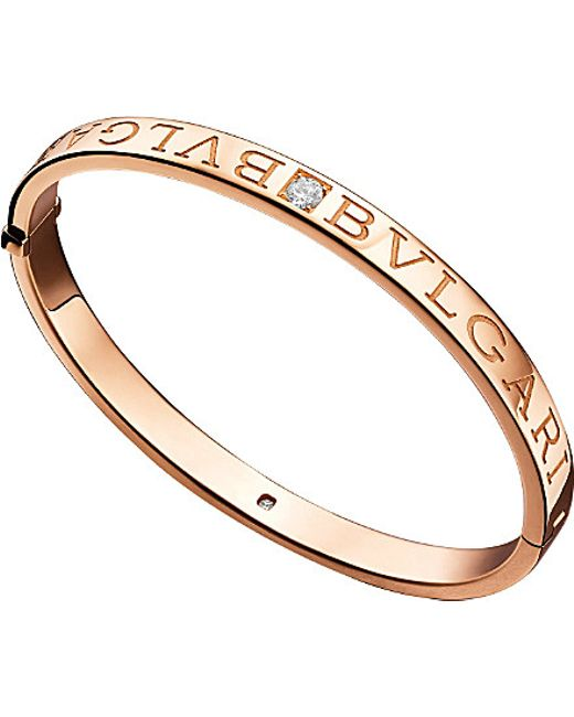 BVLGARI | Metallic - 18kt Pink-gold And Diamond Bangle | Lyst